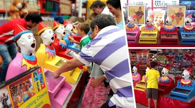4 FUNTASTIC LAUGHING CLOWNS GAME SET - Great for Corporate Events, Shopping Centres, Parties & Private Functions.